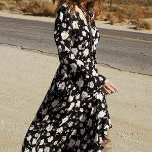 Elan Wrap Maxi Dress Sz S Black Floral NWOT